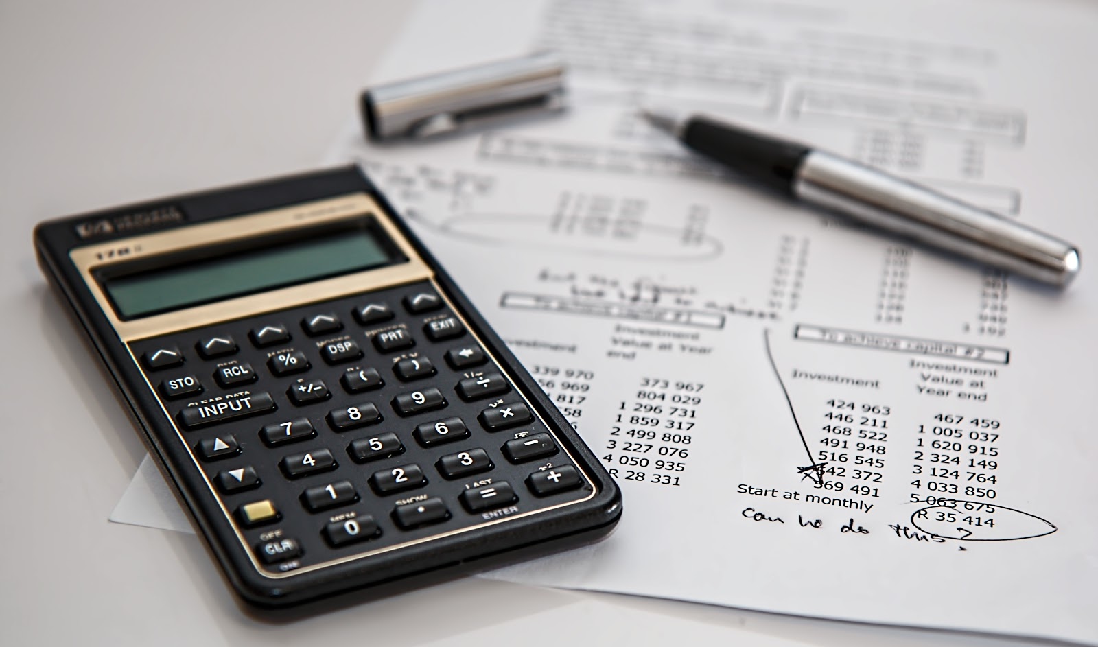 close up of a calculator and sheet showing numbers for bad credit car loan oakville